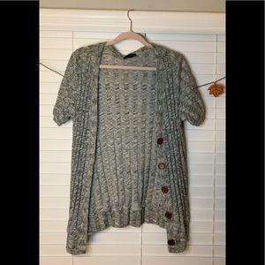 Gray stripe design cardigan